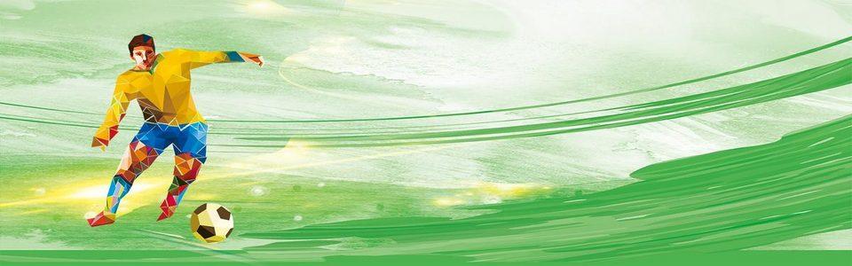 绿色手绘简约足球杯运动员背景