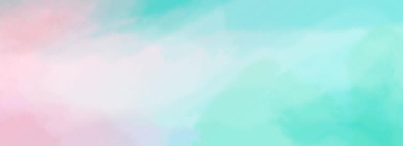 水彩青春活力渲染效果淡绿粉色渐变背景