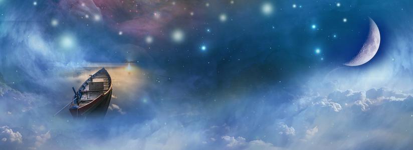 唯美月夜星海遨游背景
