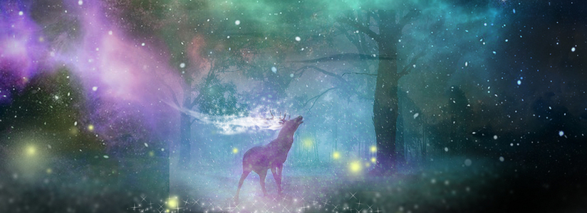 森林中的星光鹿唯美背景