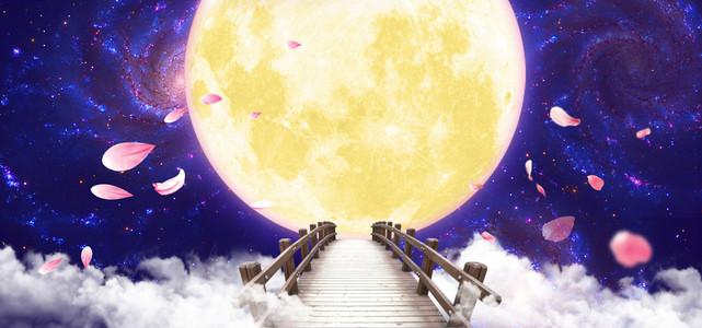 紫色浪漫七夕情人节鹊桥背景