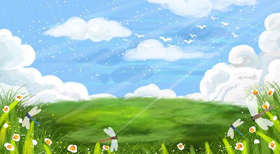 手绘卡通蓝天白云草地海报背景