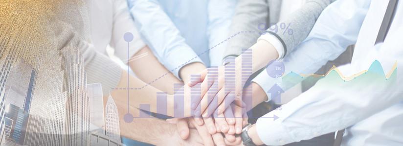 商务谈判合作办公数据创意合成图