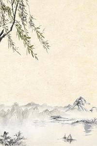 古风水墨垂柳背景