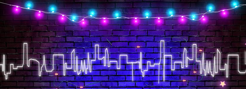 紫色创意发光光芒霓虹灯背景