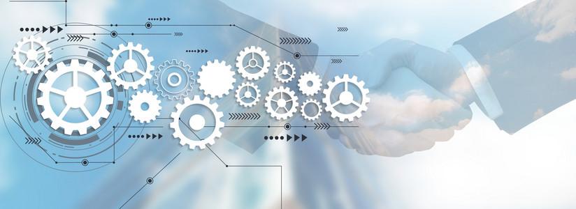 双重曝光商务科技创意合成背景图