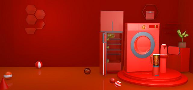 淘宝C4D红色数码电器818狂暑促