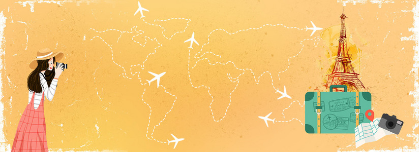 黄色旅行旅游拍照行李箱背景