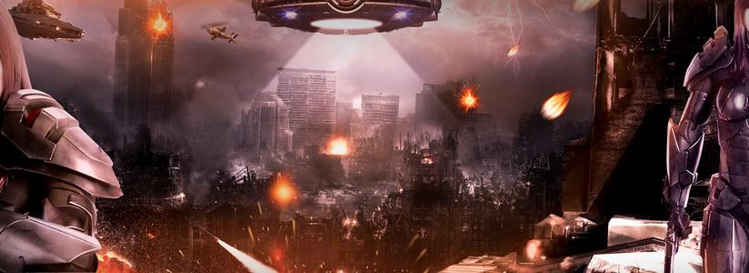 战场火焰飞船电商战士外星元素