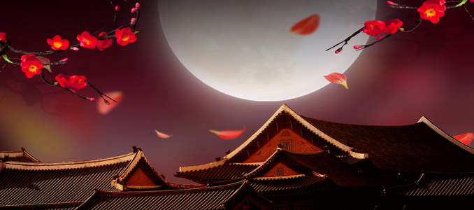 中秋月亮古风漂浮花瓣banner背景
