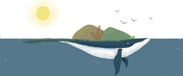 手绘鲸鱼与自然背景