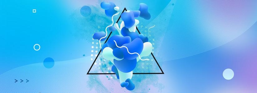 液体抽象几何简约线条流体渐变背景