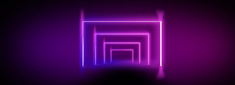 个性时尚霓虹灯几何图形黑色背景