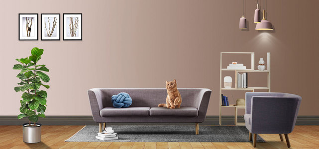 棕色日用家居沙发创意海报模版
