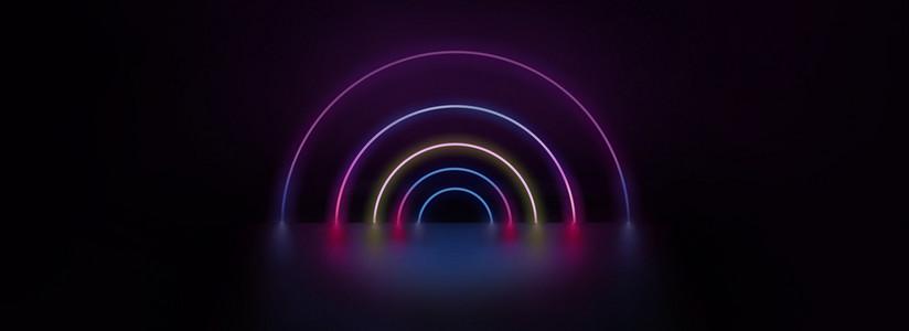 霓虹灯空间科技质感