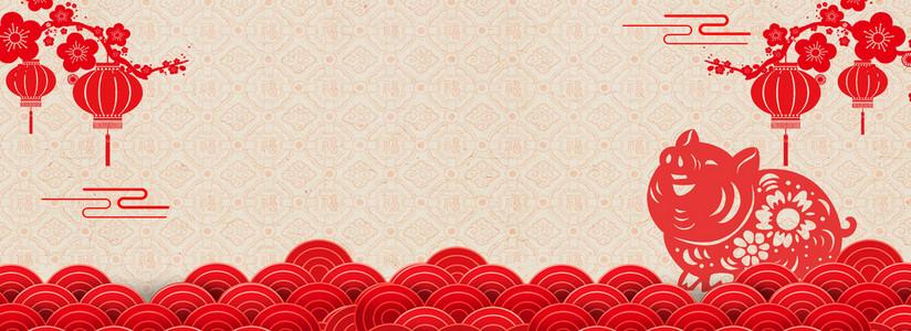 红色喜庆新年中国风海报背景