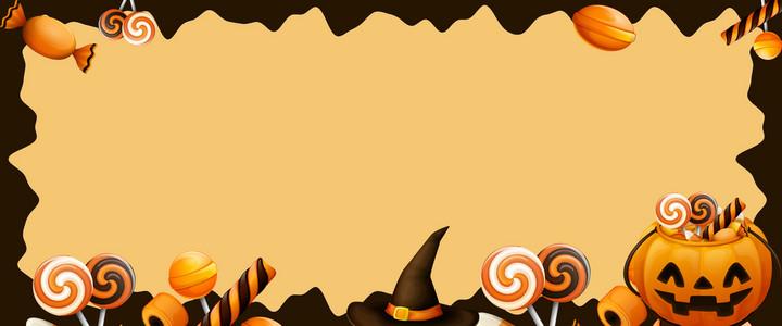 卡通风万圣节狂欢糖果南瓜海报