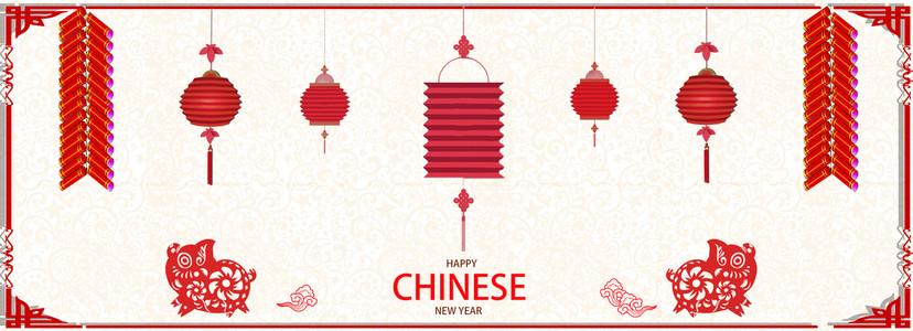 中国风简约猪年海报