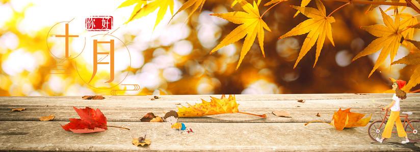 唯美十月秋天素材背景
