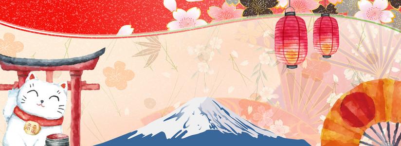 日式和风手绘淘宝天猫海报背景图