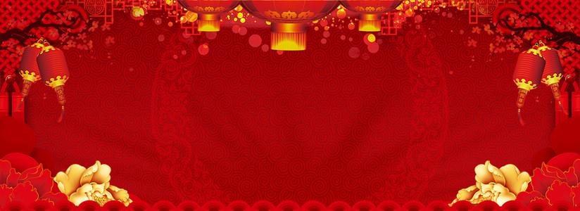 中国风金色花朵banner海报