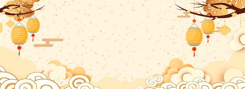 春节新年祥云黄色海报背景