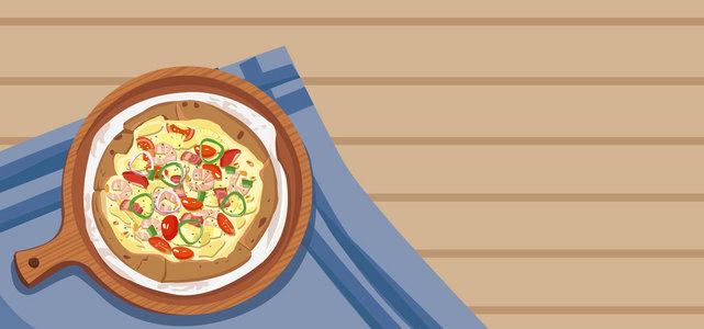 鲜虾披萨美食banner背景