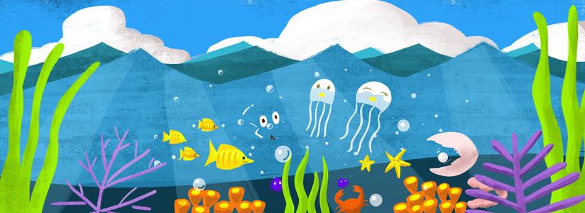 蓝色海洋手绘水母海带banner背景