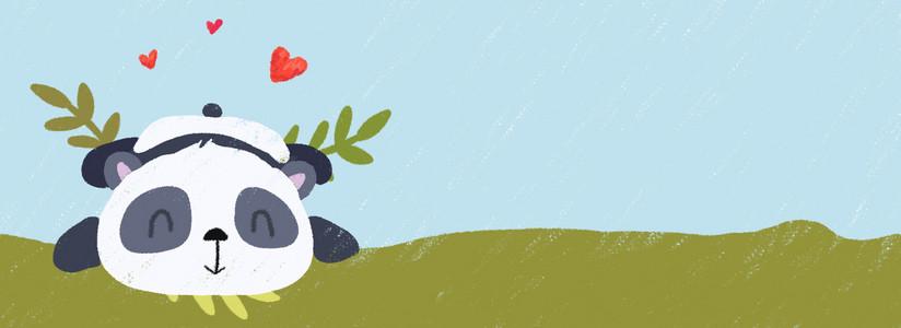 手绘卡通趴在草地上的熊猫蜡笔质感背景