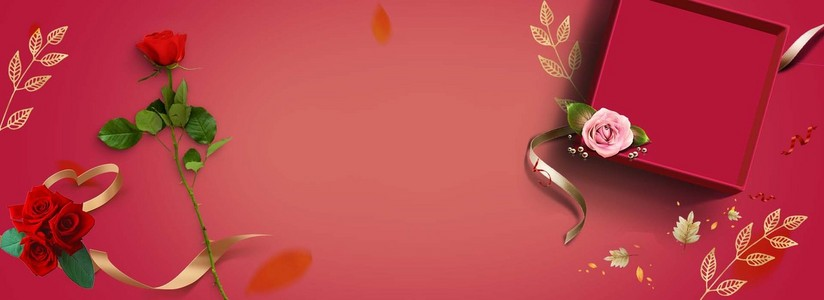 感恩节玫瑰花朵礼盒活动促销海报背景