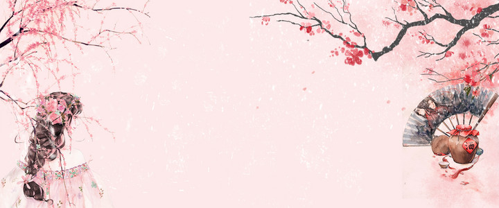 唯美风古风粉色手绘花朵扇子美人海报