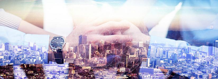 大数据人物商务团队合作城市建筑背景