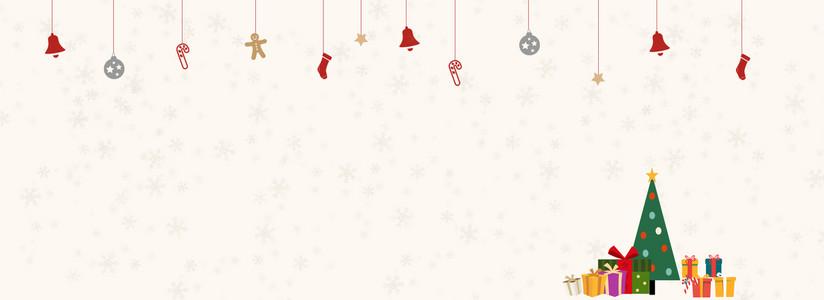 扁平简约圣诞节装饰品矢量拼接背景