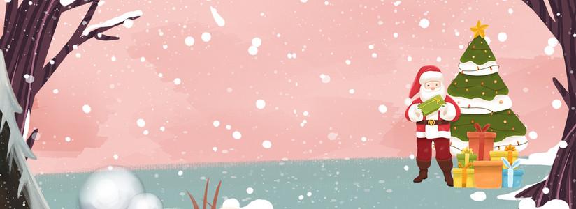 送礼圣诞老公公森林插画风背景