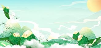端午节粽子绿色国风端午海报
