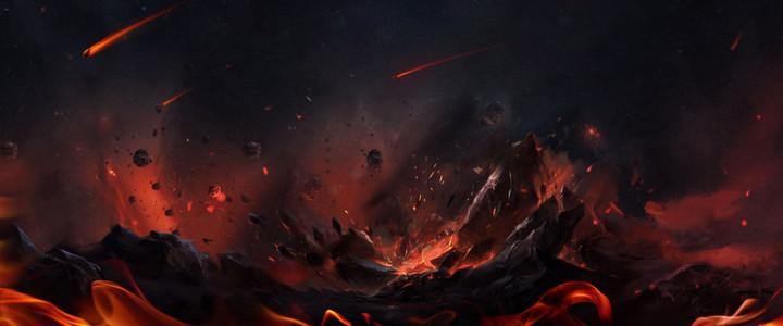 游戏场景爆炸效果背景海报