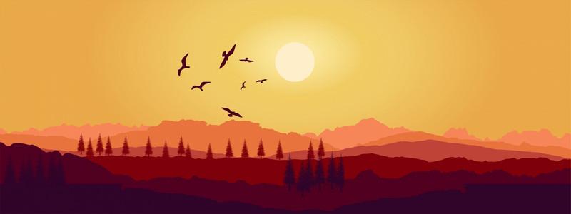 简约卡通夕阳西下山峦渐变色banne背景