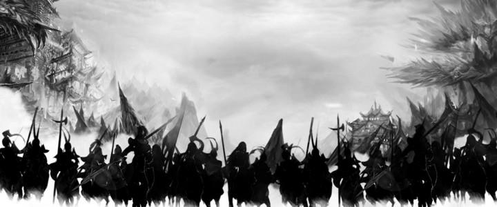 古代战士战场背景素材