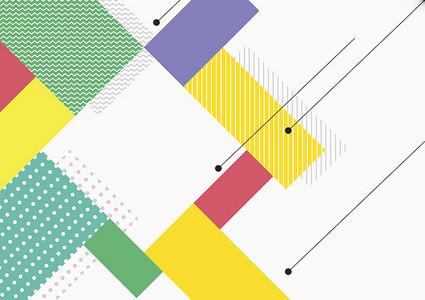 扁平彩色网格几何平面广告
