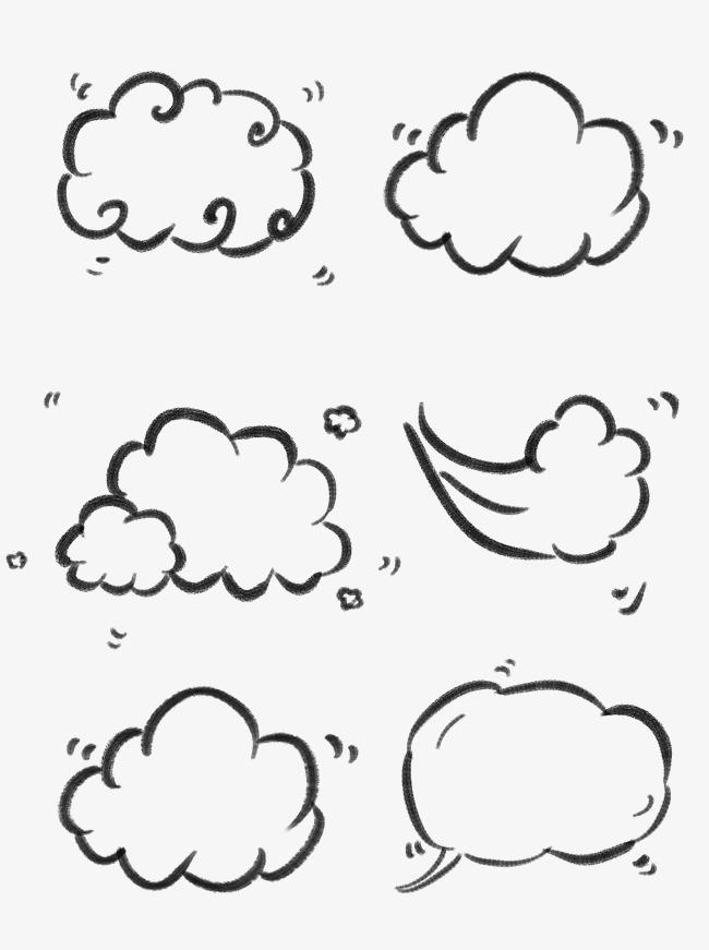 炭笔手绘风简笔画白云png可商用套图素材图片免费下载 高清psd 千库网