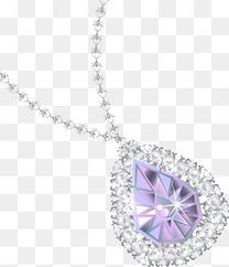 立体紫色钻石吊坠项链