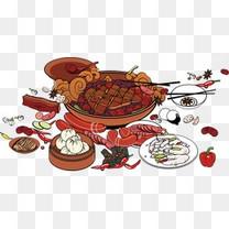 卡通美食餐饮火锅