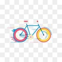 卡通加速自行车图案
