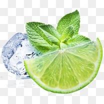 冰块柠檬薄荷叶夏季清爽装饰