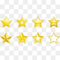 多种立体质感金黄色五角星