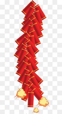 新年高清红色喜庆鞭炮 鞭炮手绘