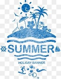 蓝色手绘夏日旅游元素