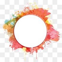 卡通水彩泼墨圆形对话框