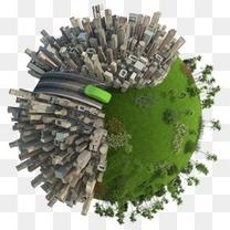 创意地球卡通卡通地球环保素材 环保地球城市