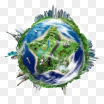 创意地球素材卡通地球素材 环保绿色地球